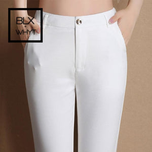 Spring New Fashion Women Pencil Pants Casual Elastic Waist Skinny Trousers Plus Size Black White