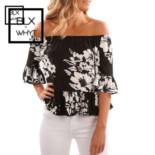 Summer Off Shoulder Blouse Women Vest Tops Short Sleeve Shirt Casual Flare Flower Print Black L