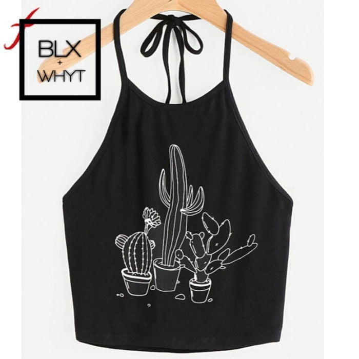Summer Sexy Bustier Crop Tops Women Funny Printed Vest Top Casual Sleeveless Tank T-Shirt Black