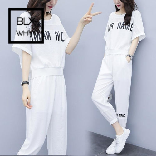 Summer Style Casual Tracksuit Women Two Piece Set Fashion Top&pants Conjunto Feminino Ensemble Femme
