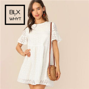 White Flounce Short Sleeve Solid Schiffy Straight Summer Lace Dress Women Elegant O-Neck Tunic Shift