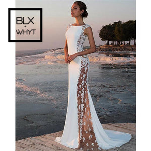 Women Elegant Formal Party White Maxi Mermaid Dress Shein Vestidos Sexy Slim Fit Floral Lace Dresses