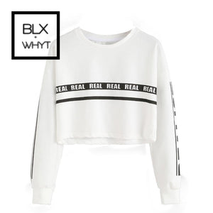 Women Fashion White Letter Print Crop Sweatshirt Top Blouse S