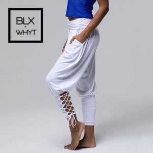 Women High Waist Slim Hollow Out Pants Black White Blue Lace Up Trousers Ladies Pocket Joggers / Xxl