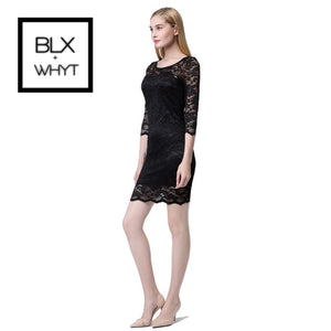Women Lace Dress Slash Neck Cocktail Evening White/black S