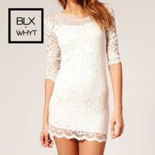 Load image into Gallery viewer, Women Lace Dress Slash Neck Cocktail Evening White/black