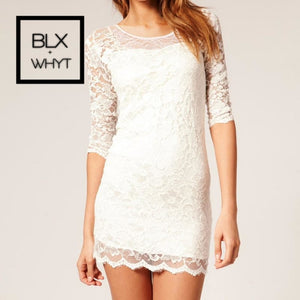 Women Lace Dress Slash Neck Cocktail Evening White/black
