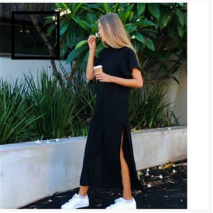 Women Polyester Casual Straight Solid Dress Full Ankle-Length Regular Natural Shein Black / S