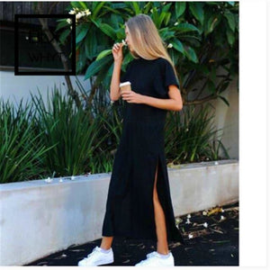 Women Polyester Casual Straight Solid Dress Full Ankle-Length Regular Natural Shein