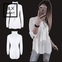 Load image into Gallery viewer, Women Shirts White Blouse Long Sleeve Korean Shein Chiffon Shirt Vadim Casual Tops And Blouses Bow