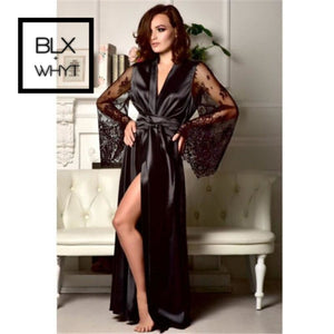 Women Slip Casual Loose Sexy Lace Lingerie Nightwear Ladies Black Underwear Robe Long Sleeve V Neck