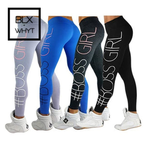 Womens Plus Size Fashion Boss Girl Printing Leggings Slim High Waist Fitness Casual Workout