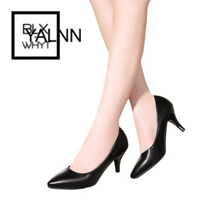Yalnn 7Cm High Heel White Women Shoes Pumps Fashion Pointed Toe Leather Girls Black For Office Lady