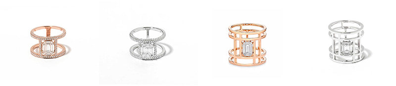 Illusion Double Rings in 18k Gold With Diamonds