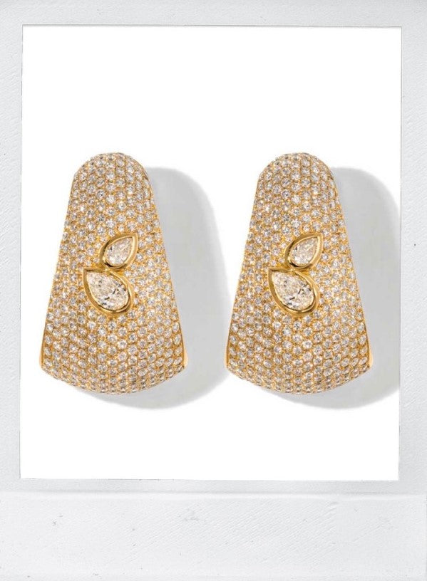 DOUBLE BOMBEE EARRINGS PEAR SHAPED DIAMOND IN 18K YELLOW GOLD