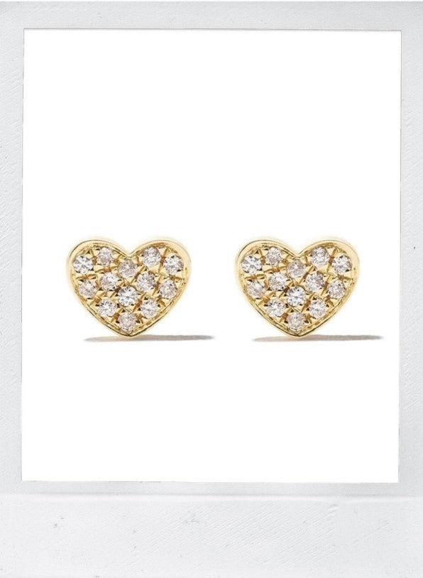 18K WHITE DIAMOND FULL PAVE HEART STUD EARRINGS