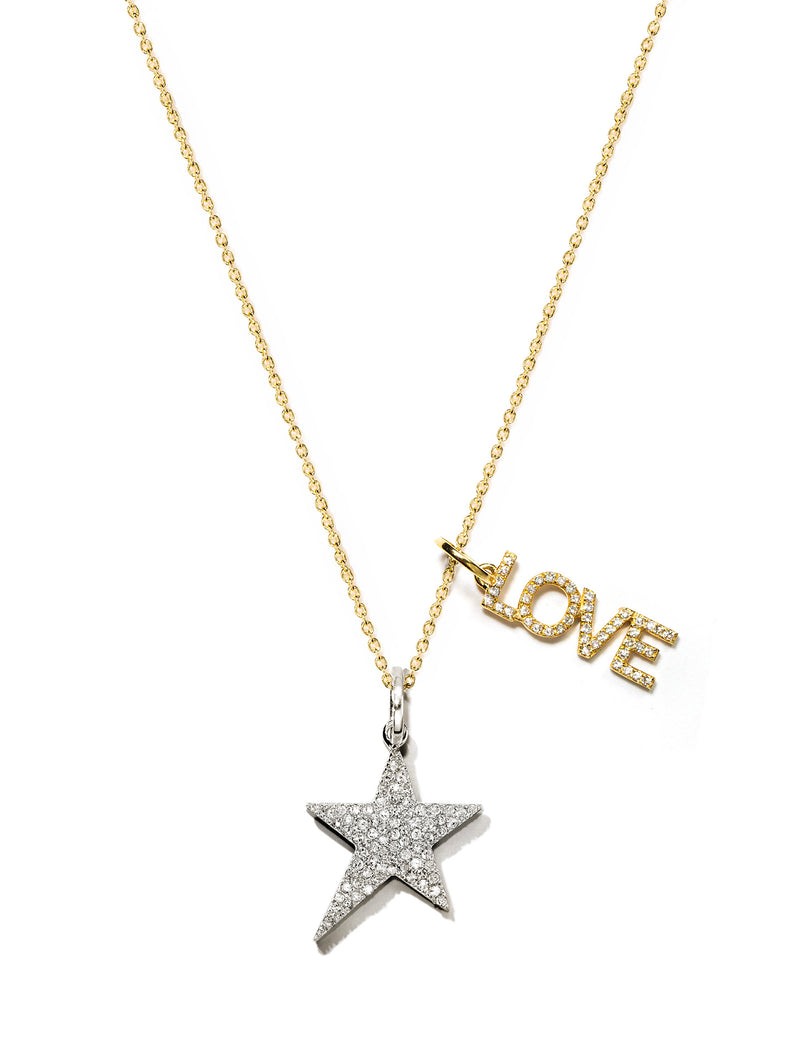 Open Love & Pave Star Pendant Necklace