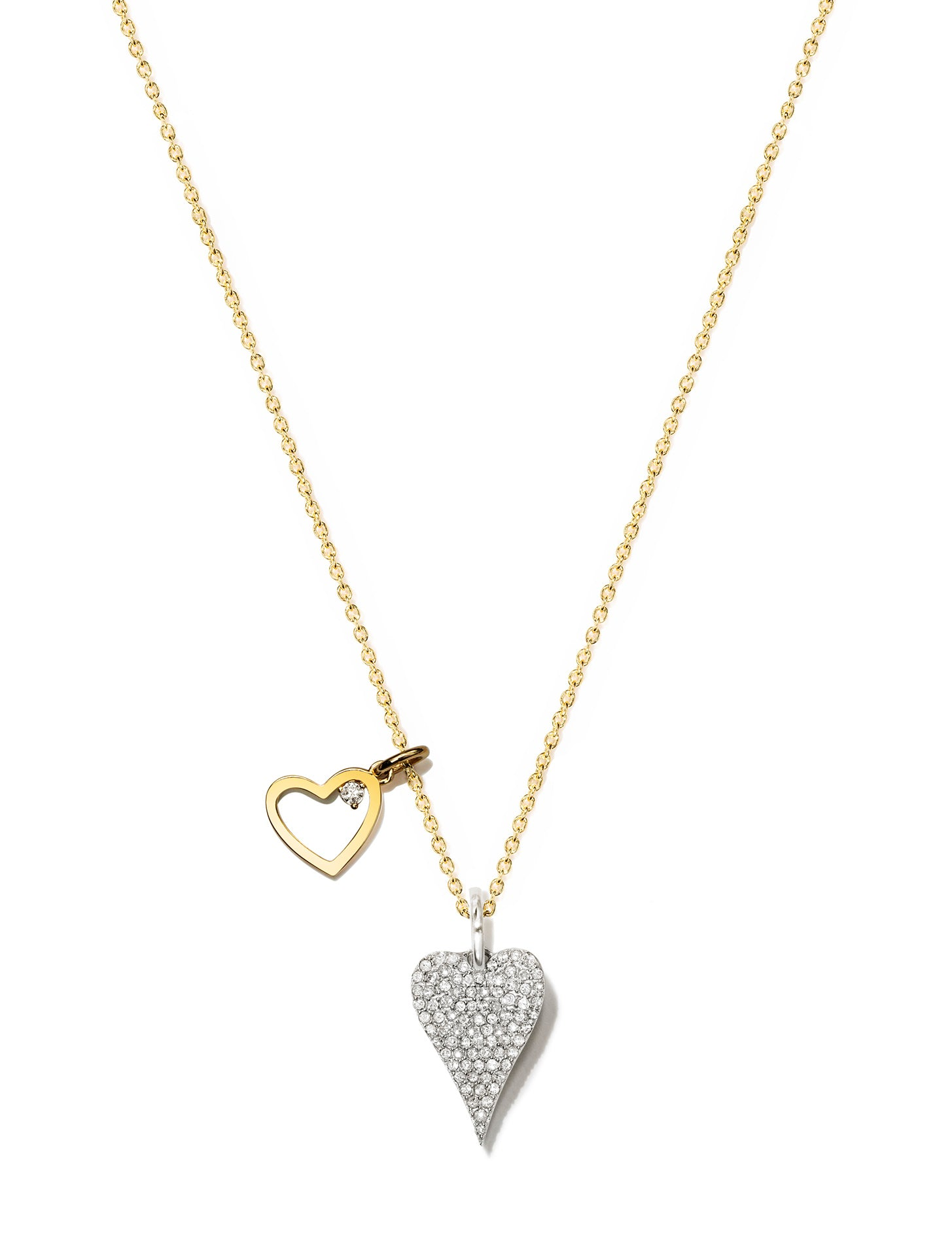 Pave Heart Pendant with Heart Necklace