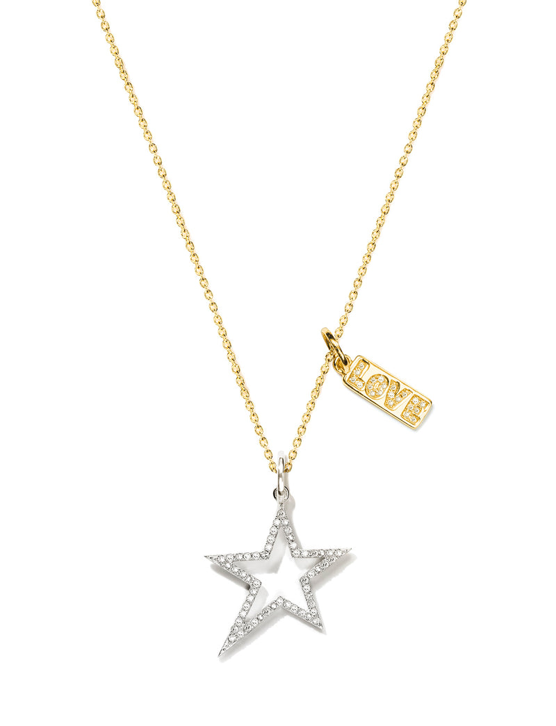 Pave Open Star with Love Tag Pendant Necklace