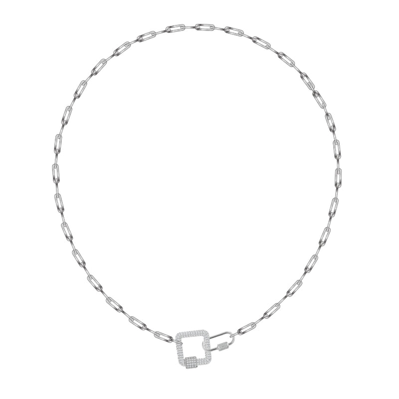 Pave White Carabiner on Small Links Chain Necklace