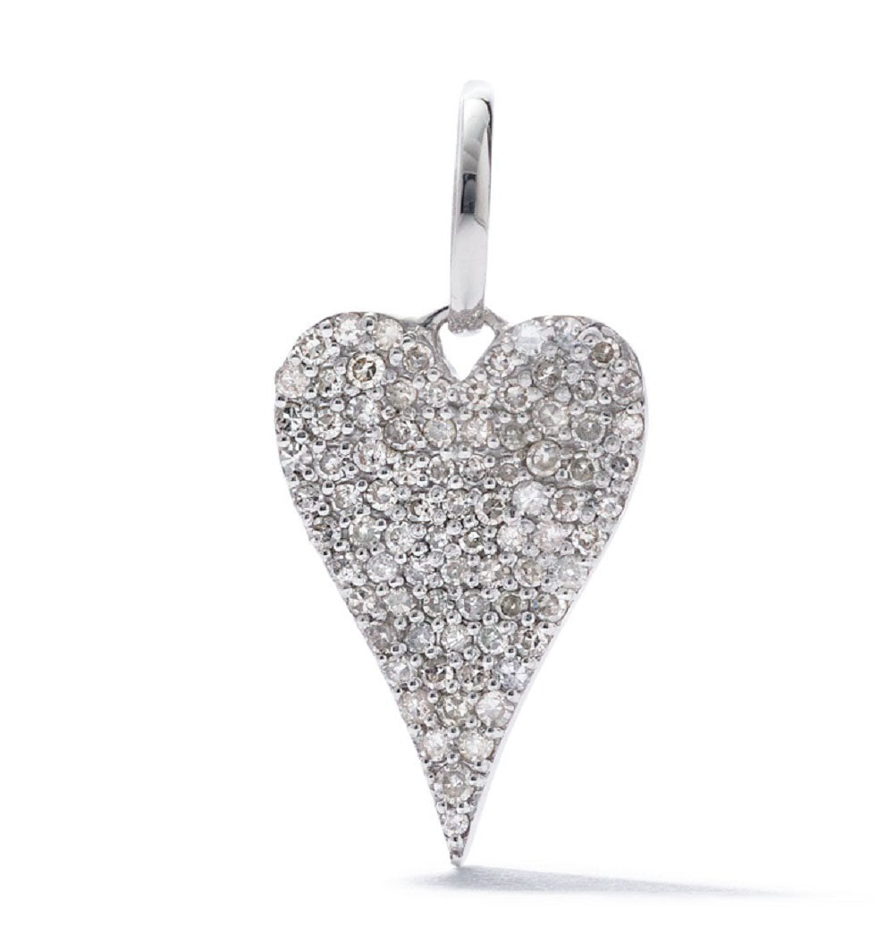 AS29 18K White Gold Pave Diamond Heart Pendant