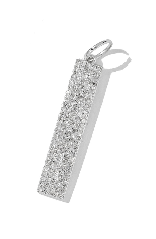 White Pave Rectangle Pendant