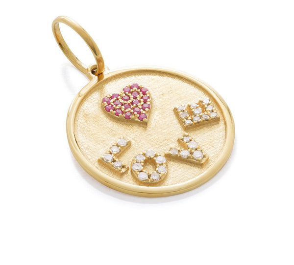Yellow & Ruby Love Round Tag Pendant