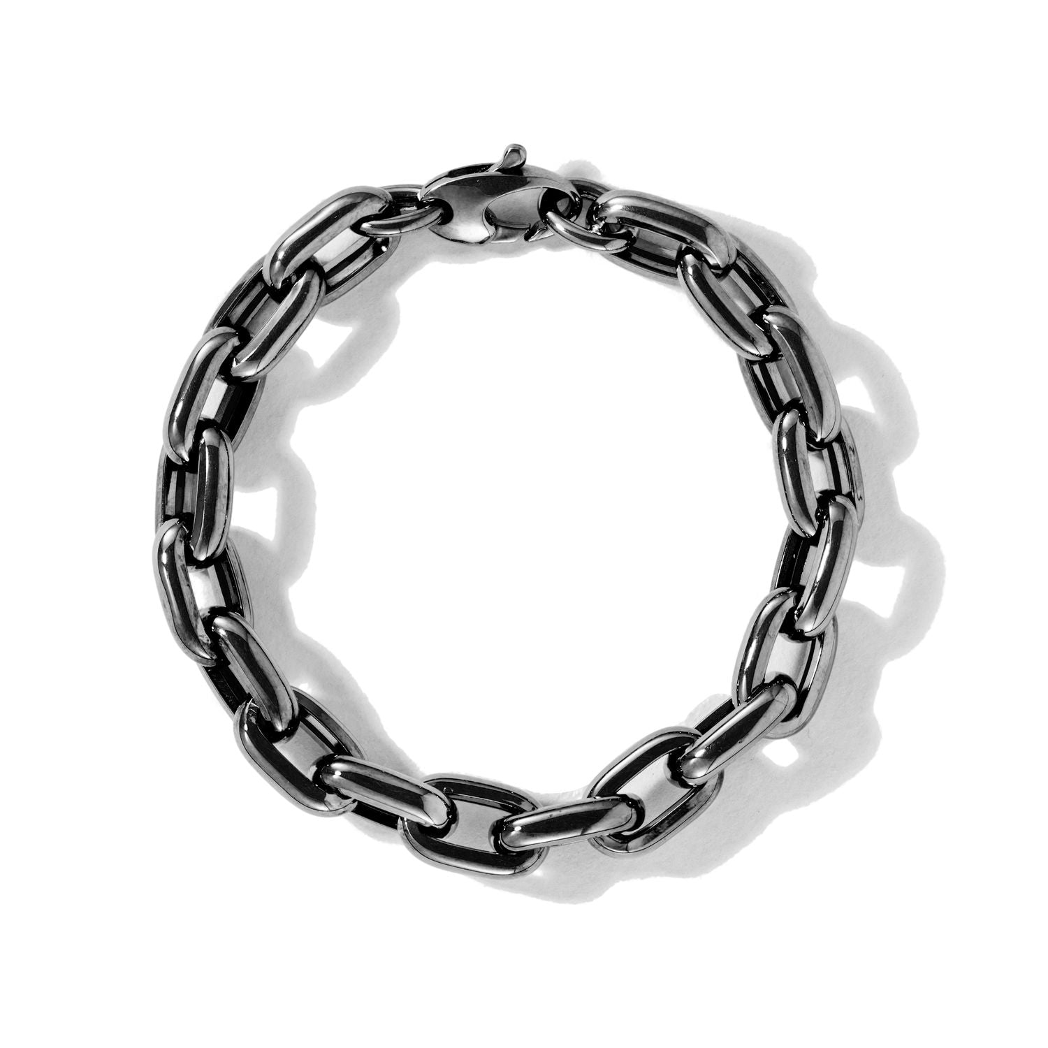 Black Oval Carabiner on Links Chain Bracelet