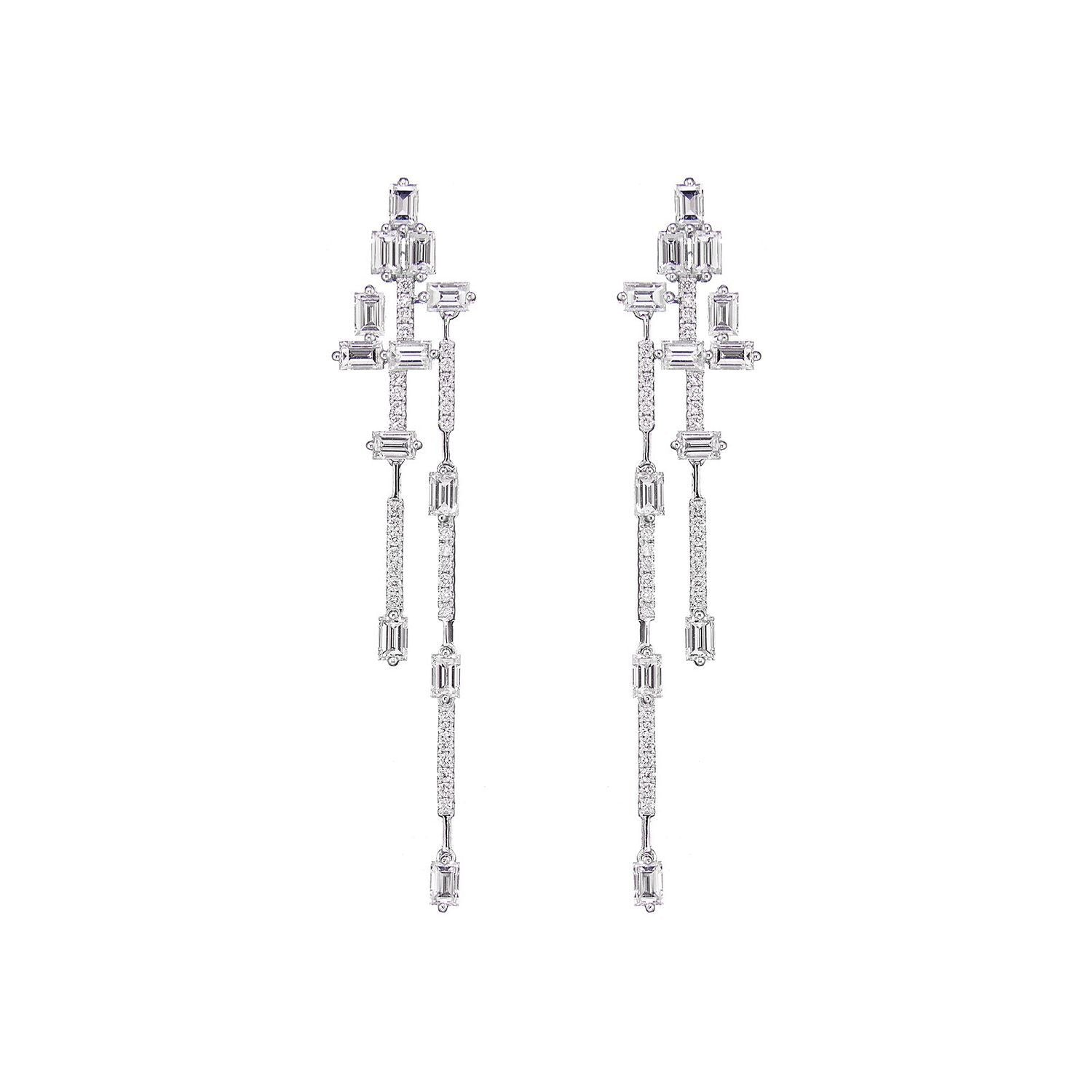 Baguette Diamond Dangling Earrings
