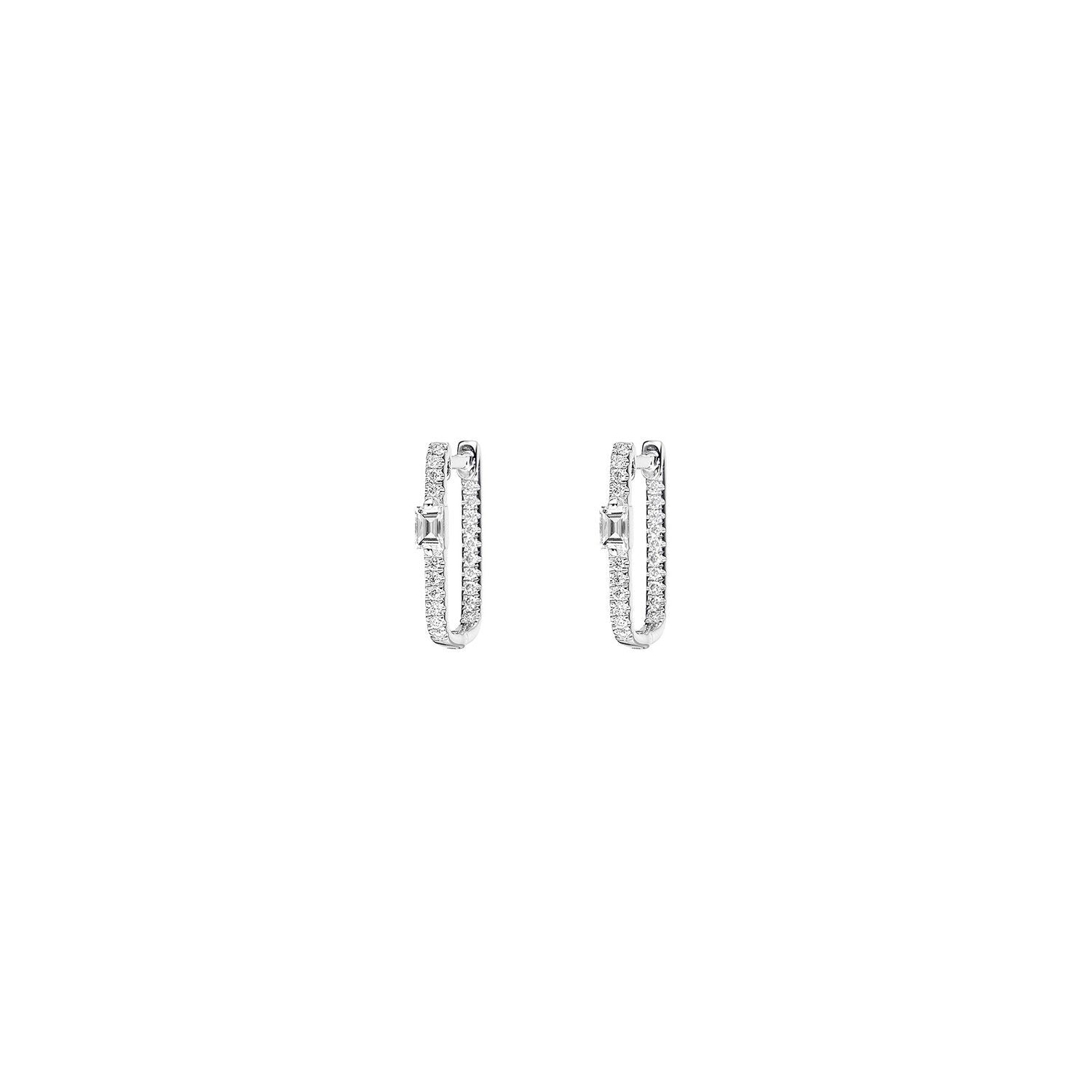 Baguette Pave Box Diamond Hoop Earrings