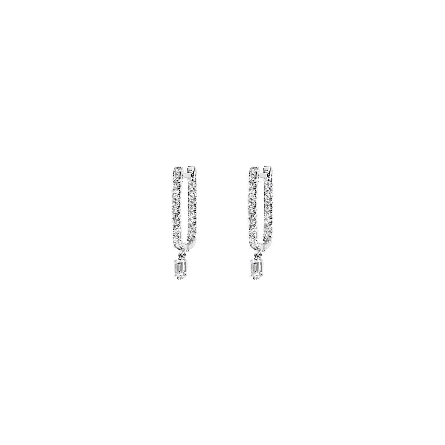 Baguette Pave Box Dangle Diamond Hoop Earrings