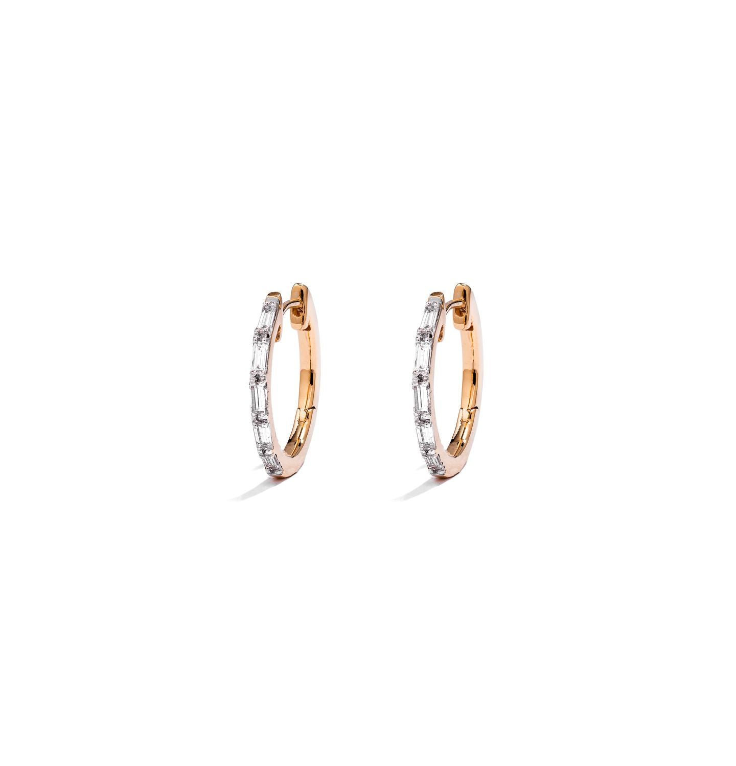 Baguette Diamond 13mm Small Hoop Earrings  (YG WD)