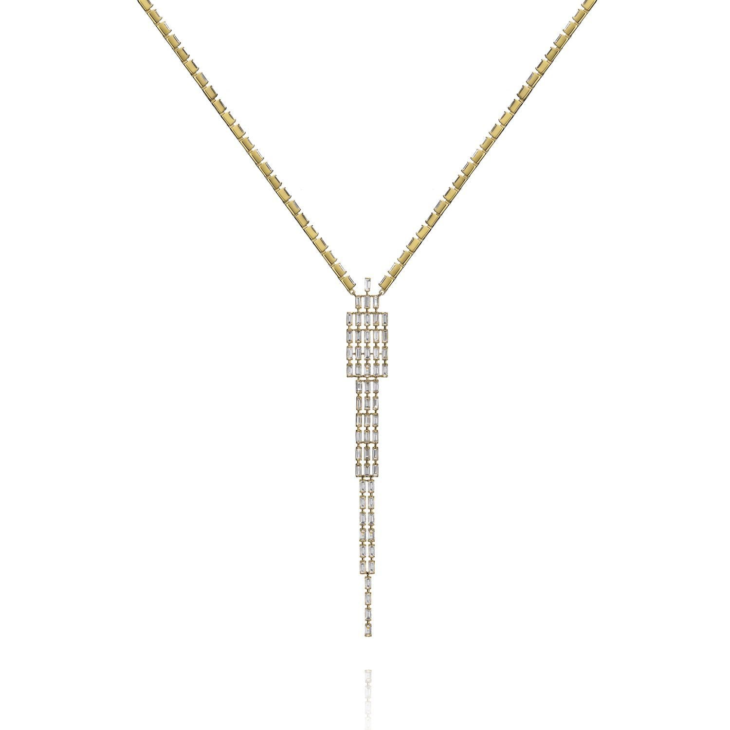 Baguette Tapered Diamond Necklace (37+6cm)  (YG WD)