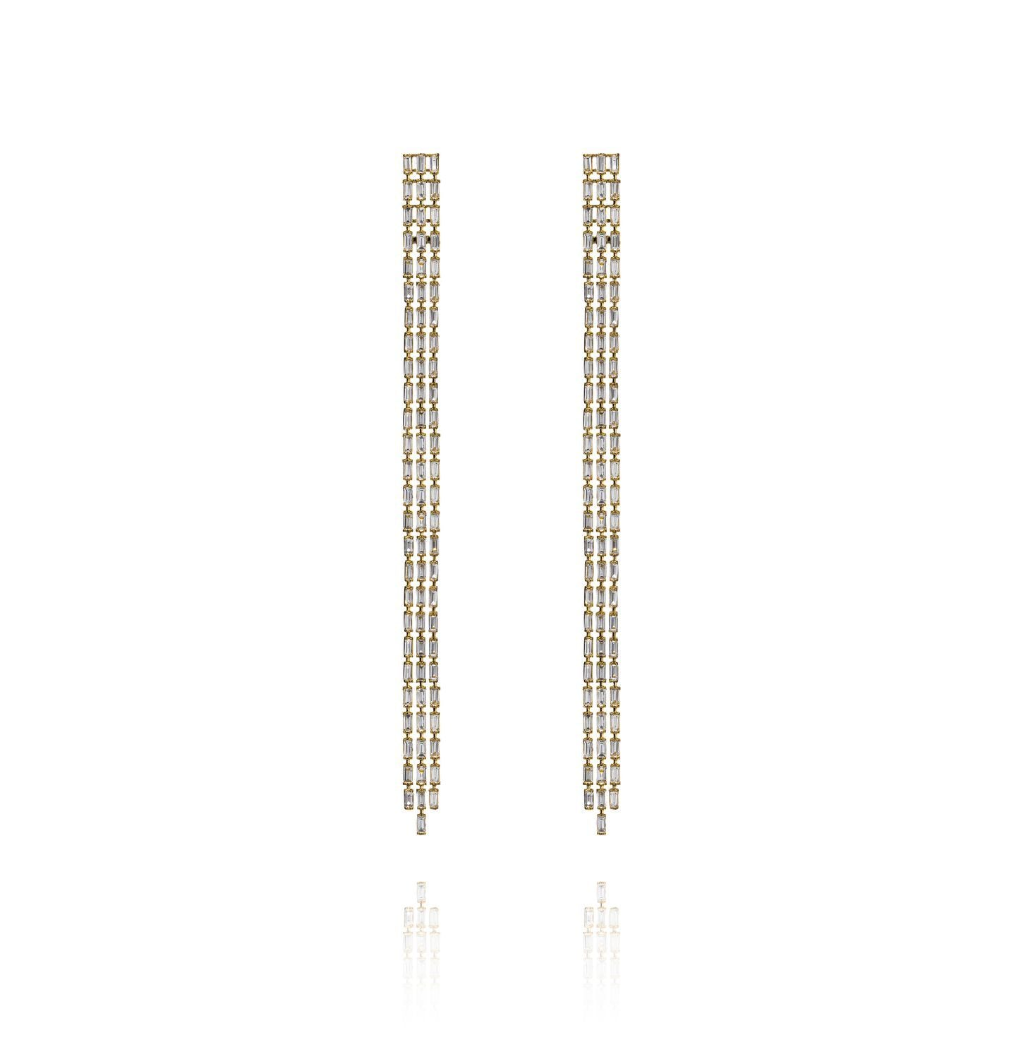 Baguette 3-line Long Diamond Earrings (11cm)  (YG WD)