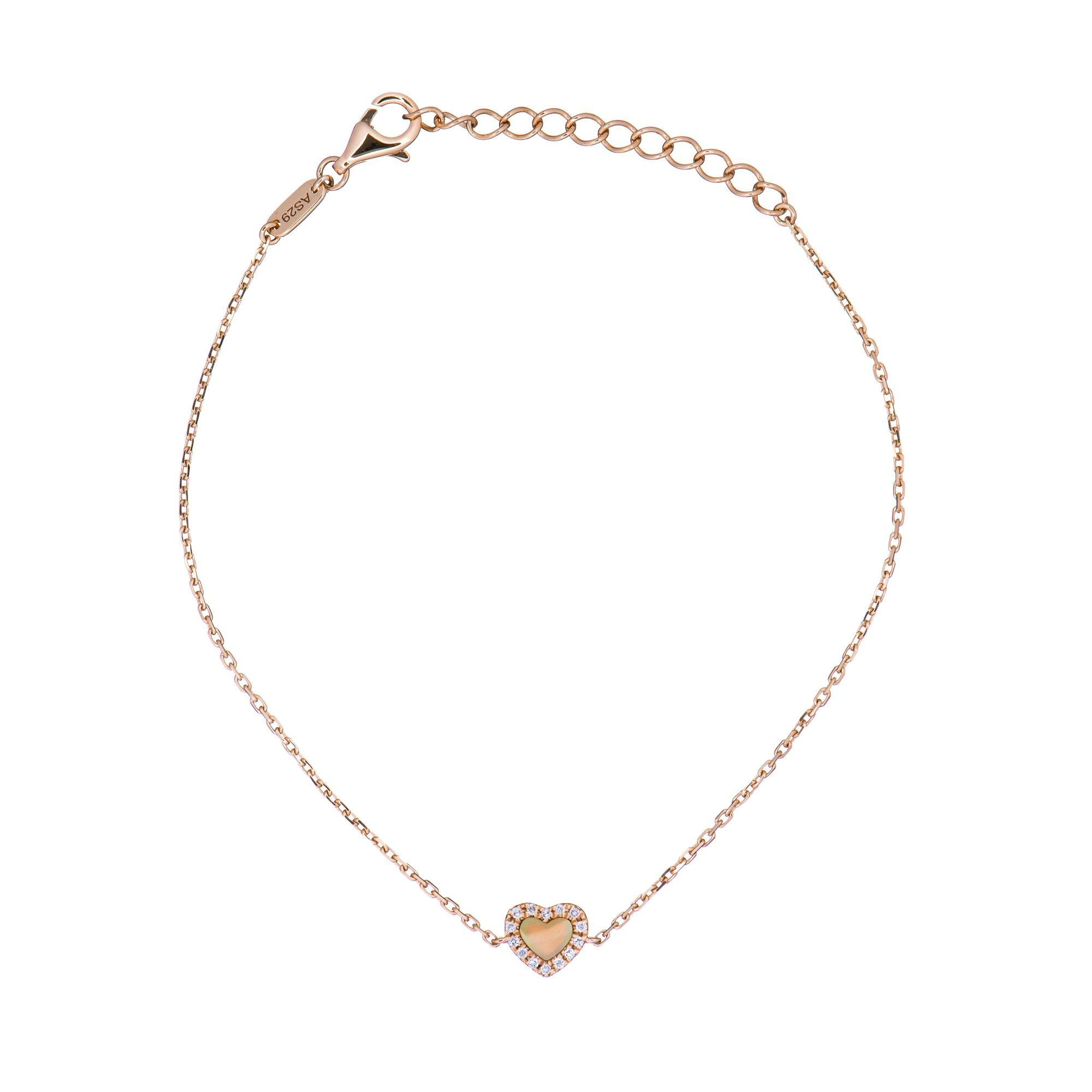 18k Pink Gold White Diamond And Mother Of Pearl Heart Bracelet