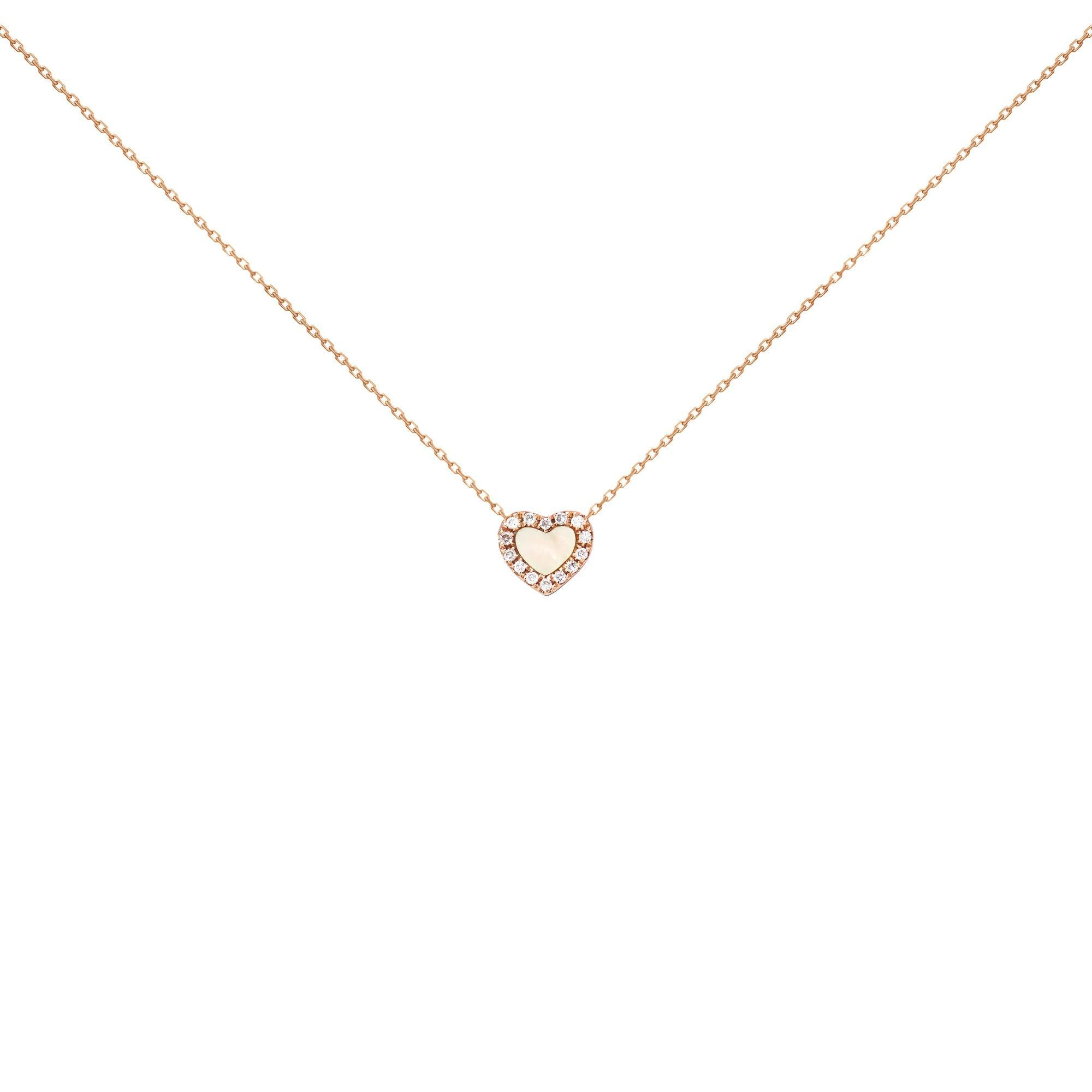 18k Pink Gold White Diamond And Mother Of Pearl Heart Necklace