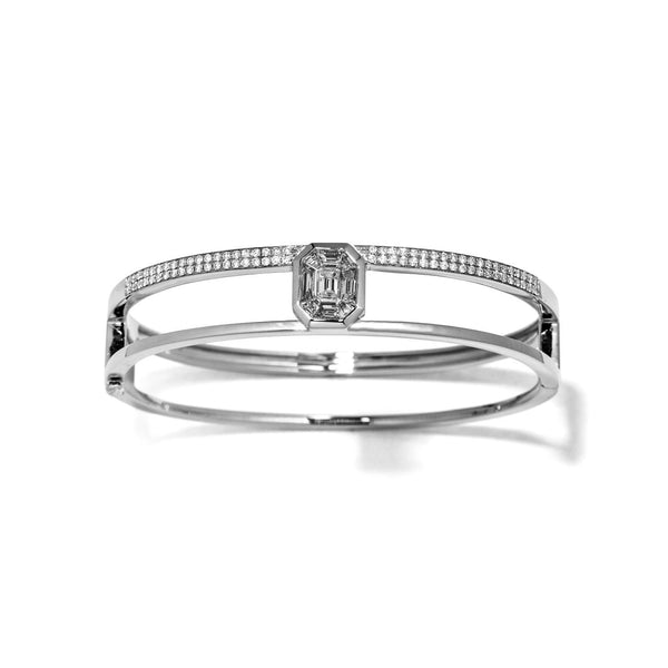 18K White Gold Illusion Diamond Pave Double Bangle