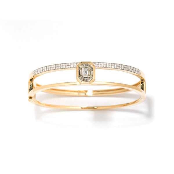 18K Yellow Gold Illusion Diamond Pave Double Bangle
