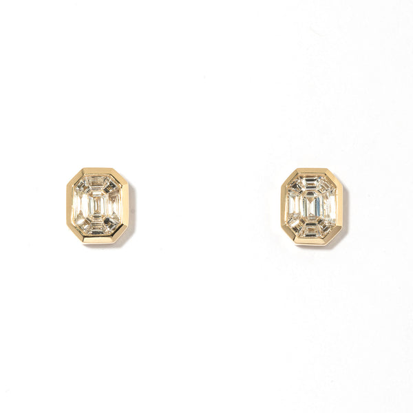 Illusion Yellow Stud Earrings