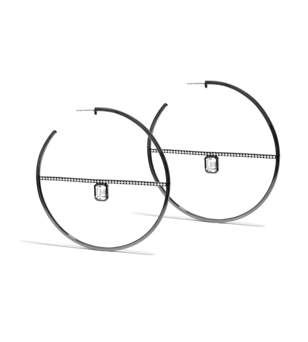 Calvet Black Spoke Hoop Earrings