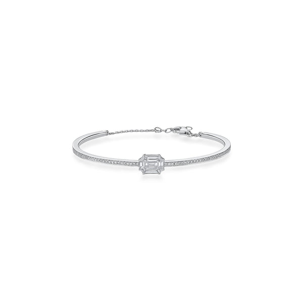 Illusion Microset Diamond Cuff with Chain
