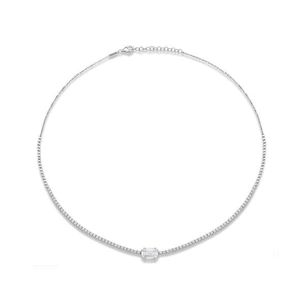 Illusion Horizontal Pave Necklace