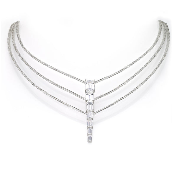 Illusion Triple Layer Baguette Necklace