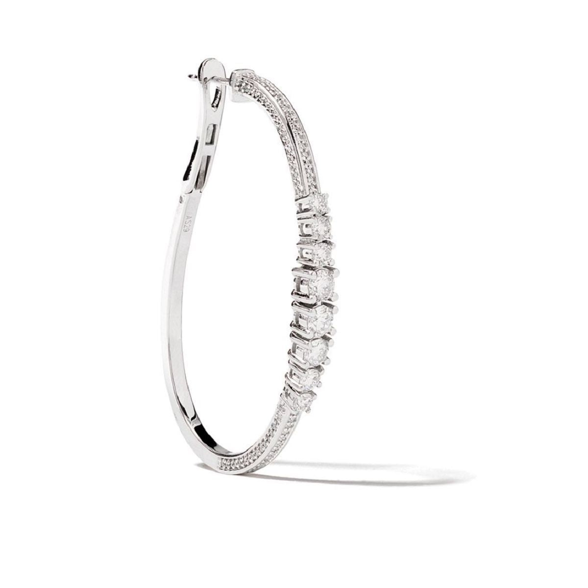 Icicle Pave Diamond 45mm Hoop Earrings