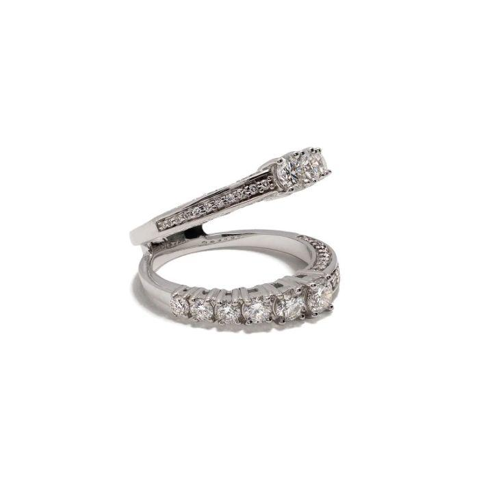 Icicle Half Diamond Pave Double Ring