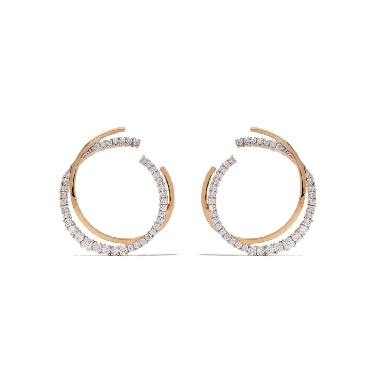 Icicle Diamond 35mm Pave Double Hoop Earrings