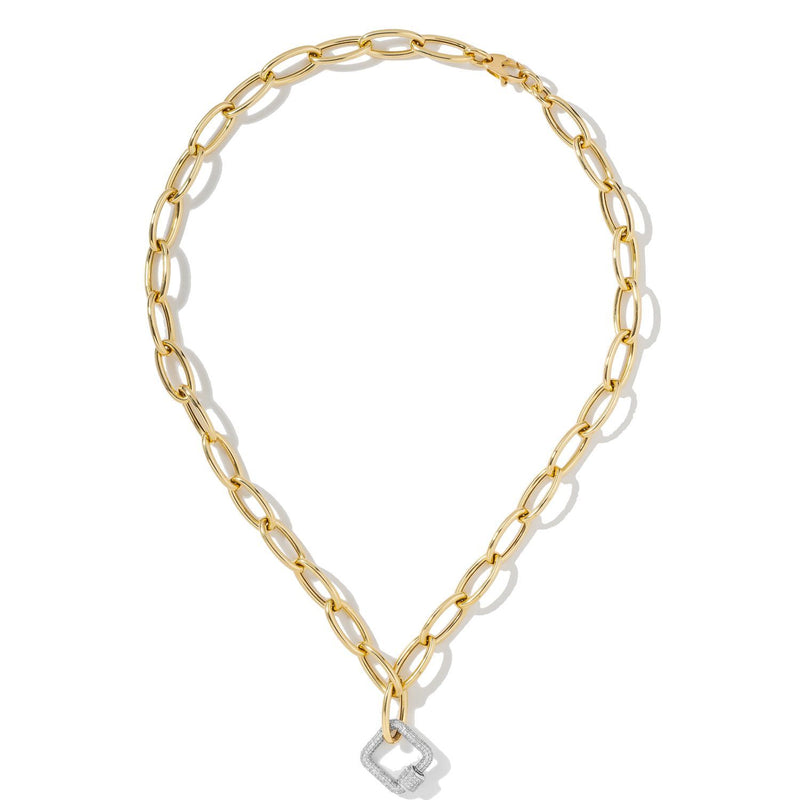 White Square Carabiner on Oval Chain Necklace