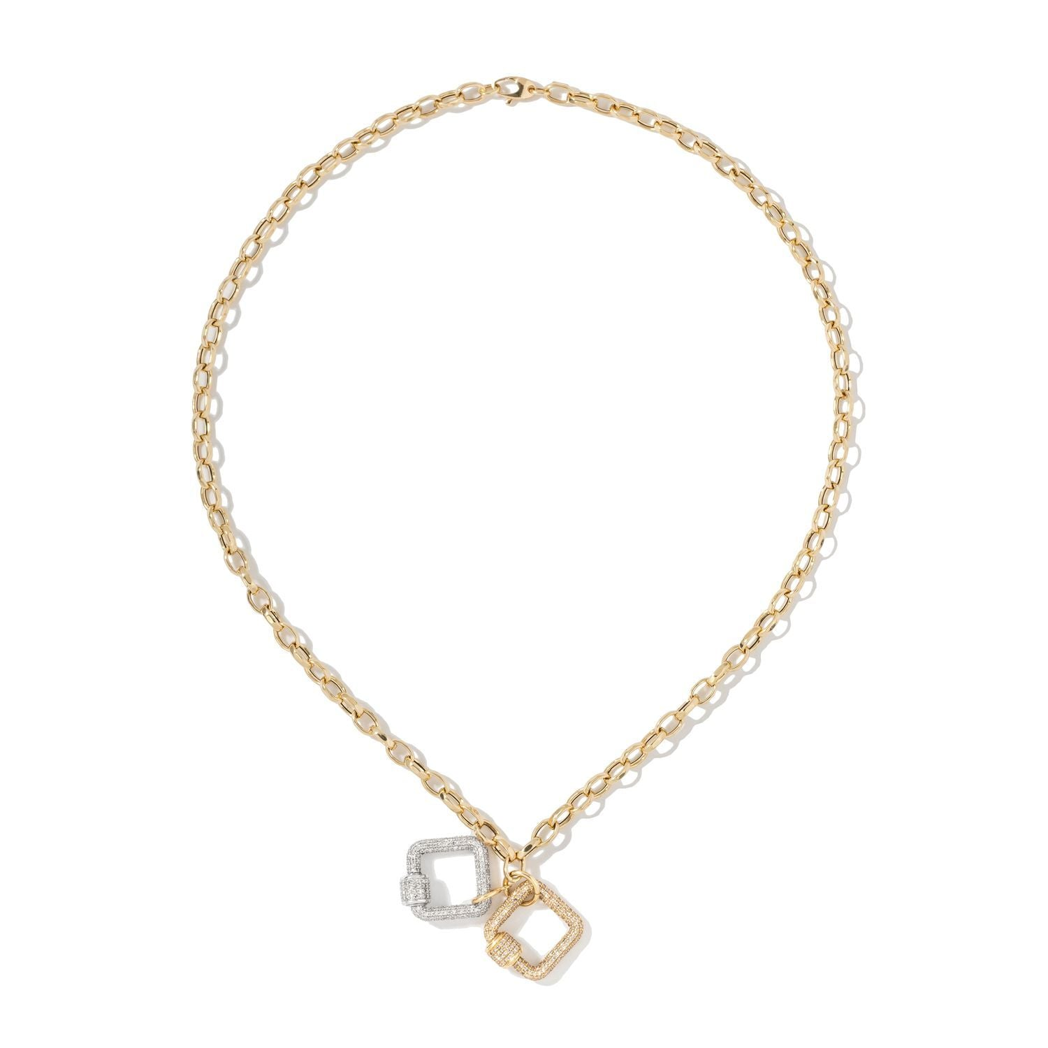 White & Yellow Square Carabiners on Oval Chain Necklace