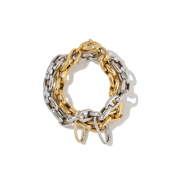 White & Yellow Oval Carabiners on Links Chain Bracelet