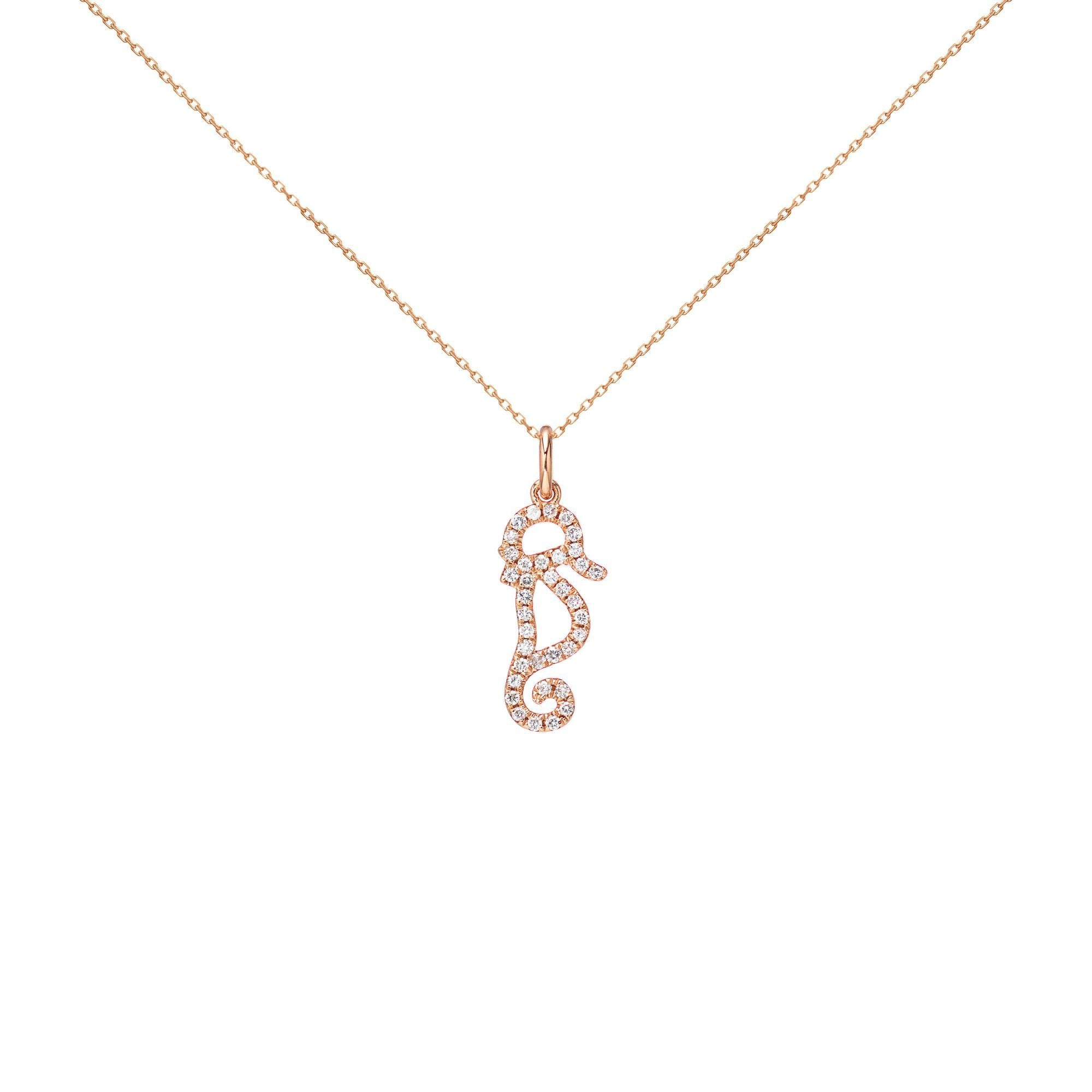 18k Pink Gold White Diamond Seahorse Necklace